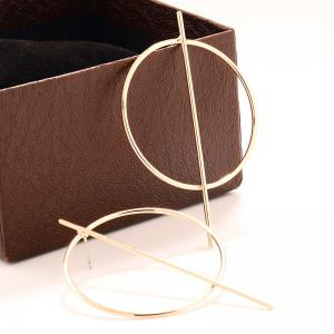 Pair of Statement Stick Circle Earrings - GOLDEN