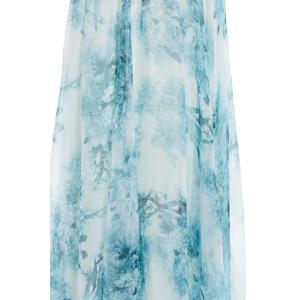 Elastic Waist Tie Dye Printed Chiffon Maxi Skirt - LIGHT GREEN XL