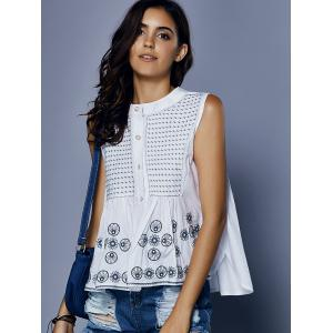 Sweet Round Neck Loose-Fitted Embroidery Print Button  Women's Tank Top -