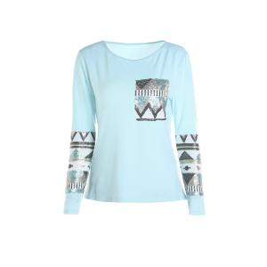 Stylish Round Collar Long Sleeve Sequined Pocket Design Women's T-Shirt - Blue - L