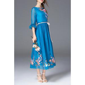 Floral Embroidered Boat Neck Long Dress -