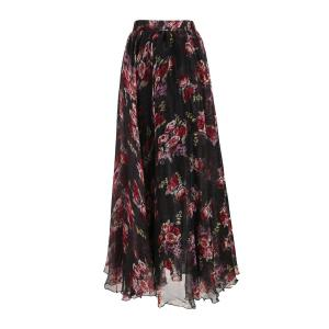 Flower Pattern Chiffon Maxi Skirt