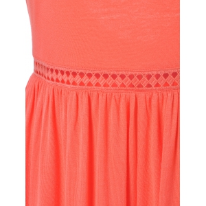 Fashionable Round Collar Frenum Back-Out Siamesed Shorts For Woman - VERMILION S