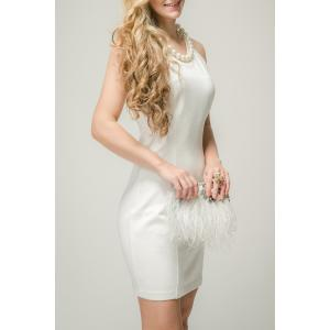 Jewel Neck Backless Solid Color Sleeveless Dress -