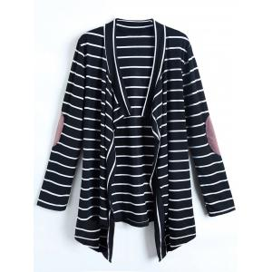 Casual Collarless Striped Long Sleeve Cardigan For Women - Colormix - L