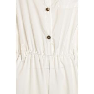 Stylish Stand-Up Collar Sleeveless Pure Color Women's Jumpsuit - WHITE L