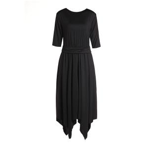 Stylish Round Neck 3/4 Sleeve Solid Color Asymmetrical Women's Dress -
