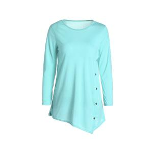 Casual Scoop Neck Solid Color Nine-Minute Sleeves T-Shirt For Women