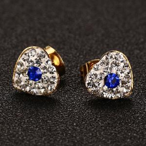 Pair of Chic Rhinestoned Heart Earrings For Women -