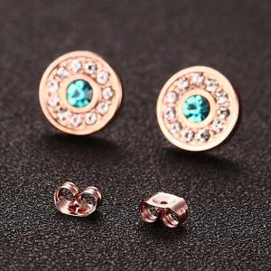 Pair of Chic Rhinestoned Circle Earrings For Women - ROSE GOLD