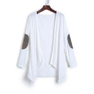 Long Sleeve Sequin Spliced Long Open Front Cardigan - White - L