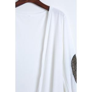 Long Sleeve Sequin Spliced Long Open Front Cardigan - WHITE L