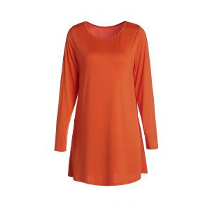 Sweet Candy Color Long Sleeve Straight Chiffon Dress For Women - Orange - M