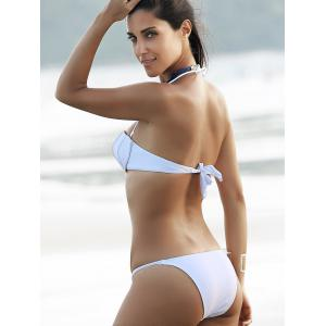 Fashionable Solid Color Halter Shell Bikini Set For Women - WHITE XL