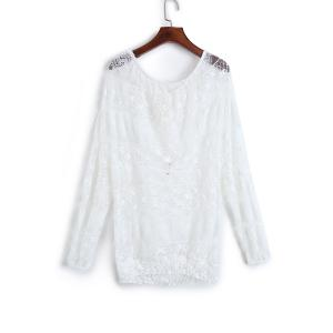 Fashionable Lace Long Sleeve Off The Shoulder See-Through Blouse For Women -