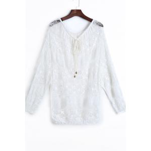 Fashionable Lace Long Sleeve Off The Shoulder See-Through Blouse For Women