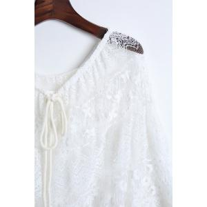 Fashionable Lace Long Sleeve Off The Shoulder See-Through Blouse For Women - WHITE ONE SIZE(FIT SIZE XS TO M)