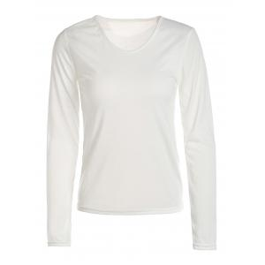 Stylish V-Neck Long Sleeves Solid Color Slimming T-Shirt For Women
