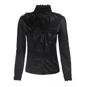 Stand Collar Flounce Long Sleeve Steampunk Blouse