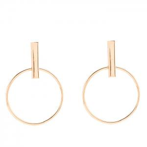 Pair of Vintage Circle Geometric Earrings - GOLDEN