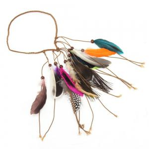 American Indian Tribal Style Multicolor Feathers Tassel Weaving Headband -