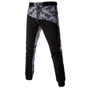 Casual Splicing Lace Up Jogger Pants
