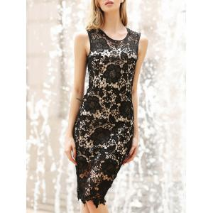 Lace Crochet Bodycon Knee Length Dress