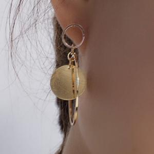 Pair of Alloy Circle Round Earrings - GOLDEN