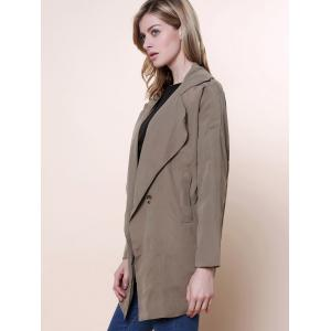 Casual Lapel Neck Solid Color Loose-Fitting Long Sleeve Women's Trench Coat - ARMY GREEN ONE SIZE(FIT SIZE XS TO M)
