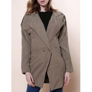 Casual Lapel Neck Solid Color Loose-Fitting Long Sleeve Women's Trench Coat