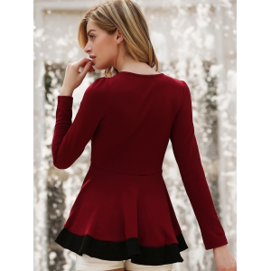 Stylish Round Neck Long Sleeve Color Block Women's Knitwear - WINE RED S