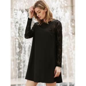 Stylish Scoop Collar Color Matching Lace Chiffon Splicing Long Sleeves Women's Dress -
