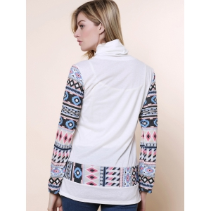 Cowl Neck Long Sleeve Printed Button Embellished Sweatshirt -