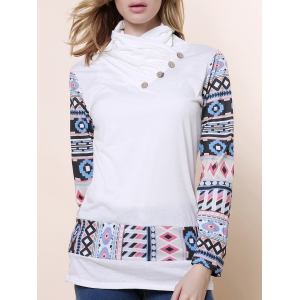 Cowl Neck Long Sleeve Printed Button Embellished Sweatshirt