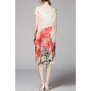 Floral Print Mid Shift Dress with Tank Top -