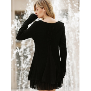 Simple Scoop Neck Long Sleeve Bowknot Embellished Women's Dress -
