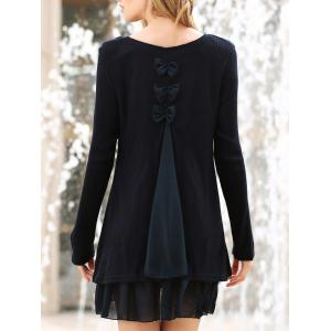 Simple Scoop Neck Long Sleeve Bowknot Embellished Women's Dress