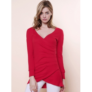 Sexy V-Neckline Ruffled and Asymmetric Hem Design Women's Knitted Fabric Dress -
