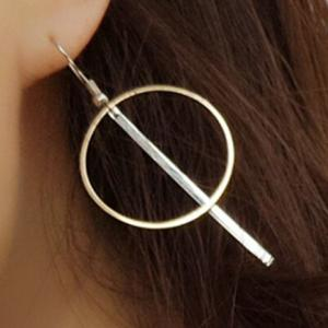 Pair of Alloy Crossed Stick Circle Drop Earrings -