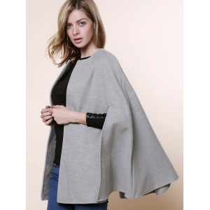 Stylish Round Neck Long Sleeve Solid Color Asymmetrical Women's Coat - GRAY ONE SIZE(FIT SIZE XS TO M)