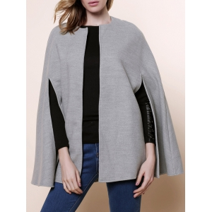 Long Sleeve Solid Color Asymmetrical Wool Cape Coat - Gray - One Size(fit Size Xs To M)