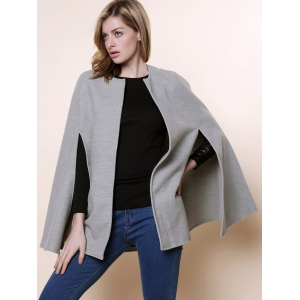 Long Sleeve Solid Color Asymmetrical Wool Cape Coat -