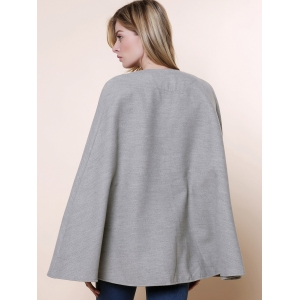 Long Sleeve Solid Color Asymmetrical Wool Cape Coat - GRAY ONE SIZE(FIT SIZE XS TO M)