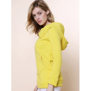 Stylish Hooded Long Sleeve Zippered Solid Color Women's Hoodie - YELLOW M