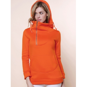 Stylish Hooded Long Sleeve Zippered Solid Color Women's Hoodie - Orange - L