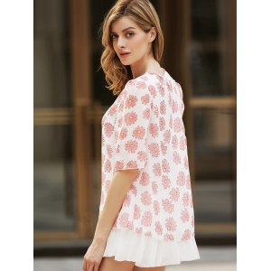 Sweet Scoop Neck Flower Pattern 3/4 Sleeve Women's Blouse - APRICOT 2XL