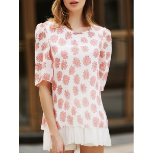 Sweet Scoop Neck Flower Pattern 3/4 Sleeve Women's Blouse