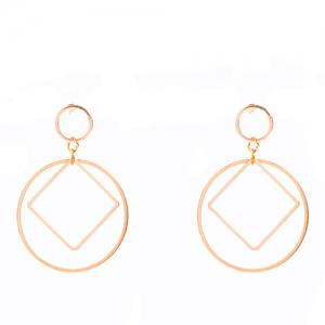 Pair of Square Circle Hollowed Drop Earrings