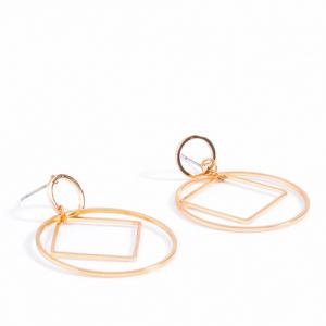 Pair of Square Circle Hollowed Drop Earrings - GOLDEN