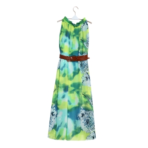 Charming Ruffled Collar Sleeveless Floral Print Beach Maxi Dress For Women